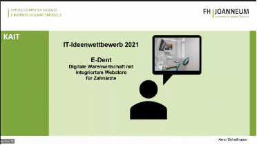 """Presentation E-Dent by Arno Scheithauer, student of the degree programme """"IT Law & Management""""."""